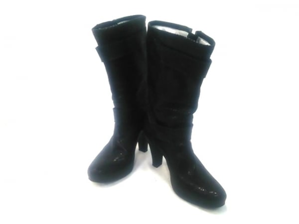 FREELANCE(フリーランス) ブーツ 35 レディース 黒 型押し加工/刺繍/花柄 レザー