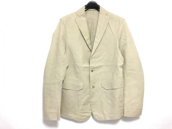 メニケッティー ジャケット サイズ46 XL メンズ美品  ベージュ 切りっぱなし加工