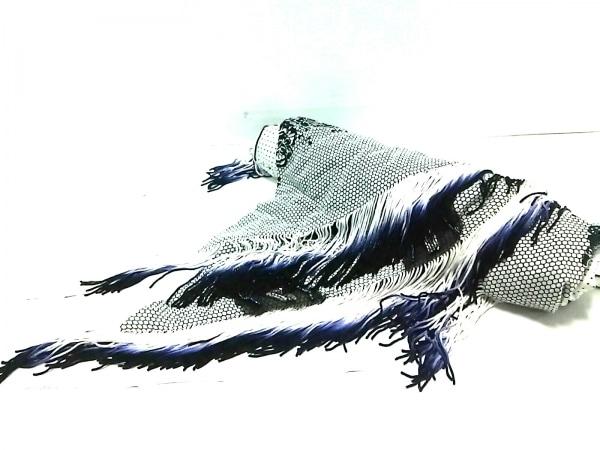 ALEXIA(アレクシア) ストール(ショール)美品  白×黒×マルチ ビーズ/フリンジ
