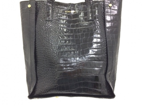 ViaRepubblica(ヴィアリパブリカ) トートバッグ美品  黒×ゴールド 型押し加工 レザー