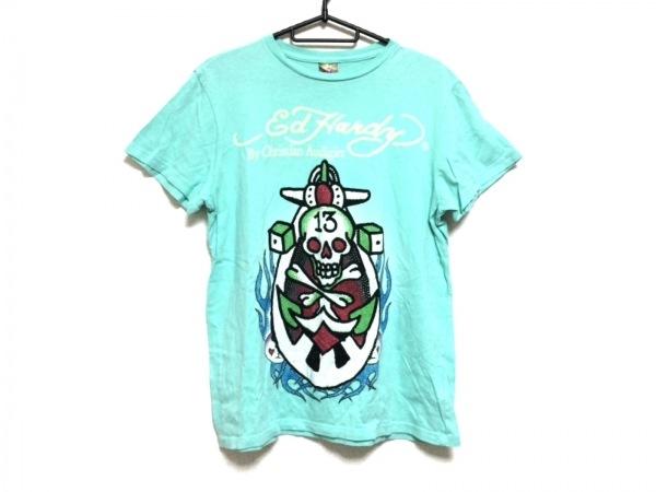 Ed Hardy(エドハーディー) 半袖Tシャツ サイズS レディース ライトブルー×マルチ