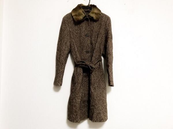 ヒューゴボス コート サイズ38 L レディース美品  ブラウン×アイボリー 冬物