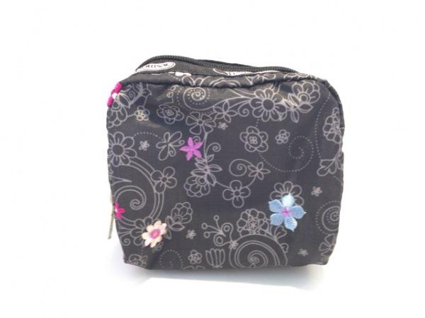 レスポートサック ポーチ美品  黒×グレー×マルチ 花柄/刺繍 レスポナイロン