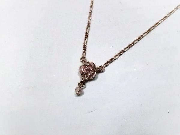 アナスイ ネックレス美品  金属素材×ラインストーン ピンクゴールド×マルチ