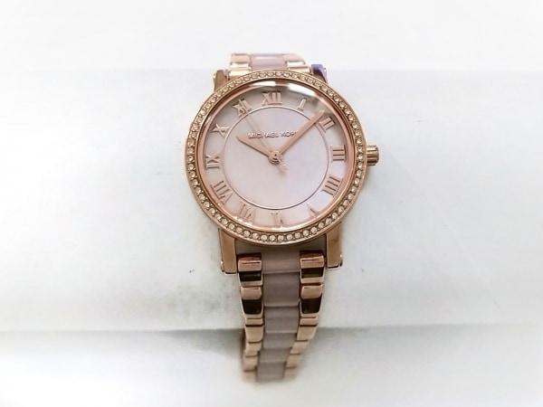 マイケルコース 腕時計美品  MK-3699 レディース ラインストーン/シェル文字盤 ピンク