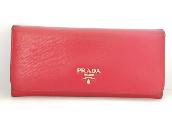 PRADA(プラダ) 長財布 - レッド レザー