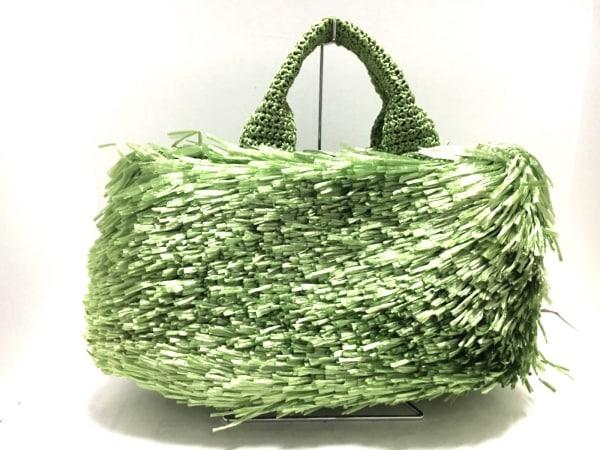 プラダ トートバッグ美品  ラフィアトート グリーン ラフィア 3