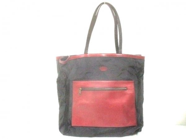 IBIZA(イビザ) トートバッグ美品  黒×レッド ナイロン×レザー