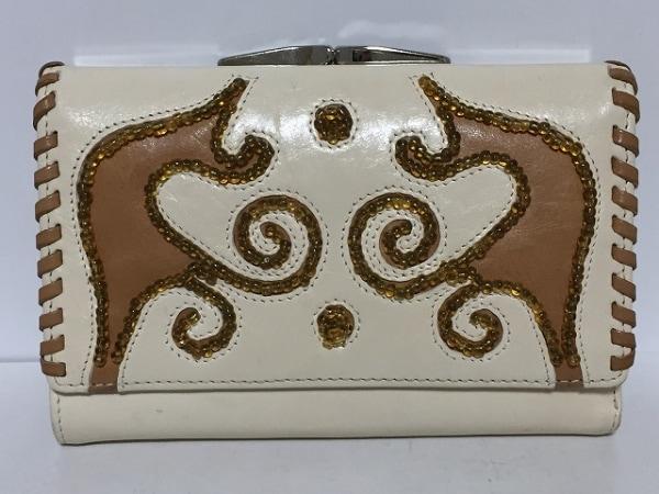 フランチェスコ・ビアジア 3つ折り財布 アイボリー×ブラウン がま口/ビーズ レザー