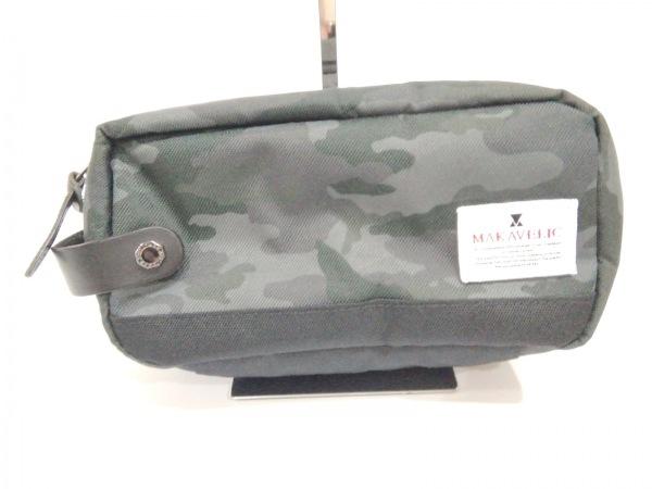 マキャベリック セカンドバッグ美品  黒×ダークグレー×ダークグリーン 迷彩柄