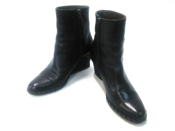 BRUNOMAGLI(ブルーノマリ) ショートブーツ 36 レディース 黒 ウェッジソール レザー