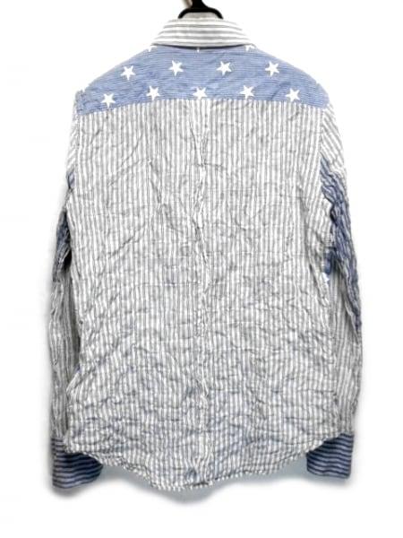 エデュケーションフロムヤングマシーン 長袖シャツ サイズ2 M メンズ ブルー×白
