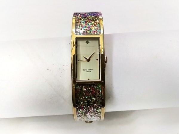 ケイト 腕時計美品  LIVE COLORFULLY 0243 レディース バングルウォッチ/グリッター