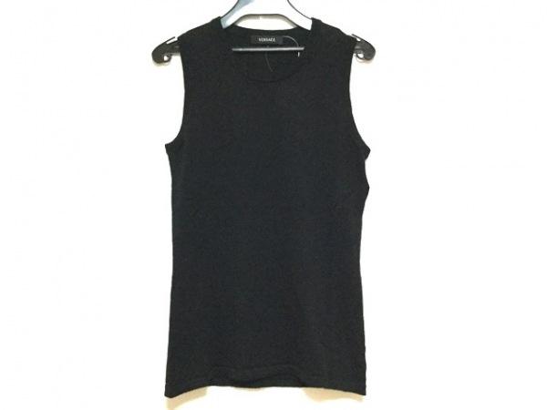 VERSACE(ヴェルサーチ) ノースリーブセーター サイズ42 L レディース新品同様  黒