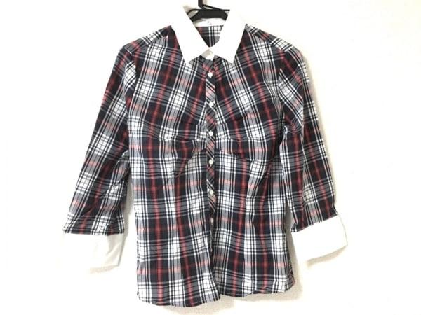 ナラカミーチェ 長袖シャツブラウス サイズ2 M レディース美品  黒×白×レッド