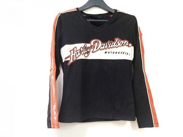 ハーレーダビッドソン 長袖Tシャツ サイズS レディース 黒×アイボリー×オレンジ