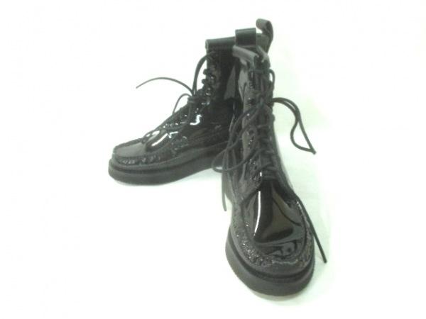ユケテン ブーツ 9 E メンズ美品  黒 アウトソール張替済 エナメル(レザー)×レザー