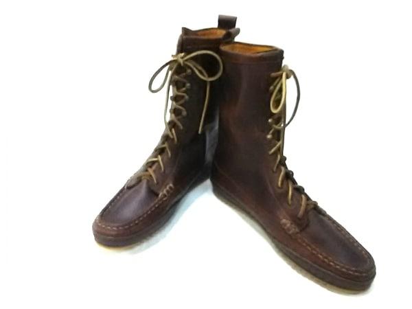 YUKETEN(ユケテン) ブーツ 9 D メンズ ブラウン 型押し加工 レザー