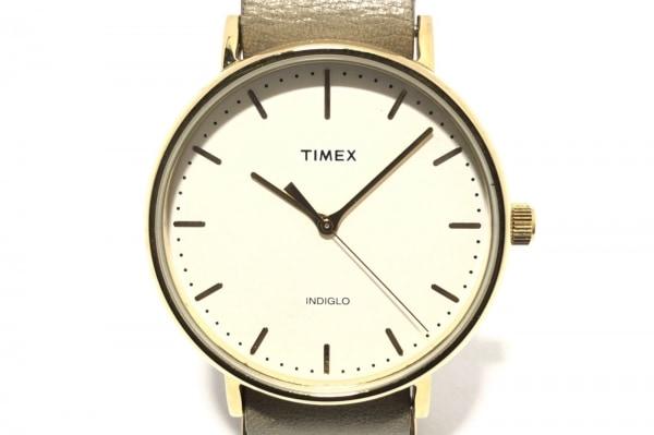 TIMEX(タイメックス) 腕時計 INDIGLO CR2016CELL メンズ 革ベルト アイボリー