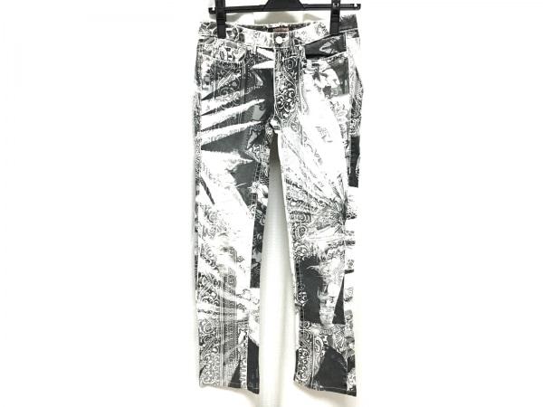 ロベルトカヴァリ パンツ サイズ38 M レディース新品同様  白×ダークグレー