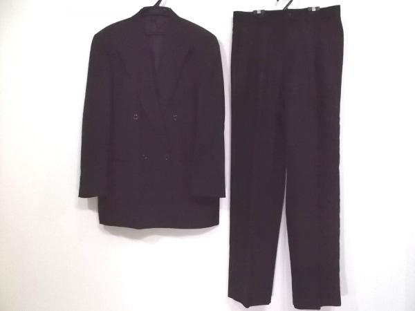 バルー ダブルスーツ サイズ48 XL メンズ 黒×ダークグレー ストライプ/3点セット