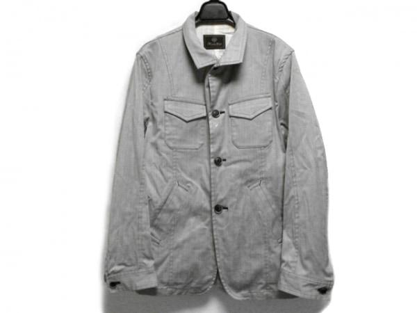 メンズビギ コート サイズ4 XL メンズ ライトグレー×ブルー ストライプ/春・秋物