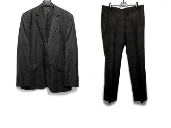 MEN'SBIGI(メンズビギ) シングルスーツ サイズ5 XL メンズ 黒×グレー ストライプ