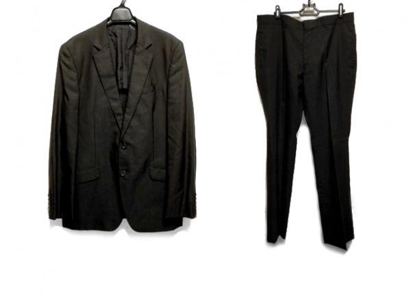 メンズビギ シングルスーツ サイズ5 XL メンズ ダークグレー×黒 チェック柄