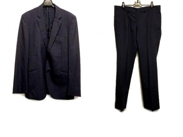 メンズビギ シングルスーツ サイズ5 XL メンズ ネイビー×ライトブルー ストライプ