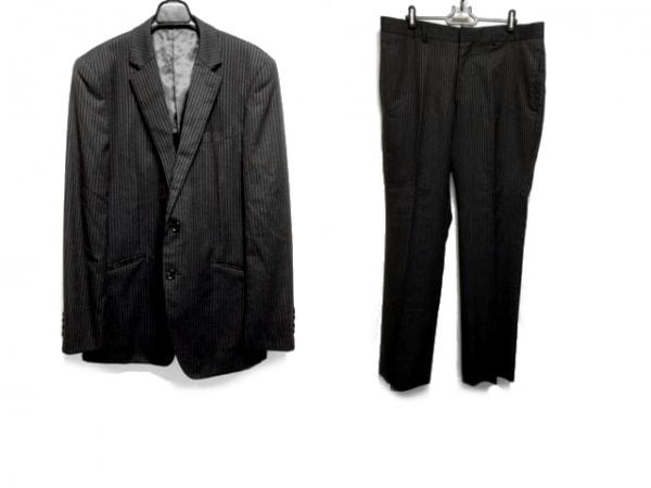 メンズビギ シングルスーツ サイズ5 XL メンズ ダークグレー×ライトグレー×ボルドー