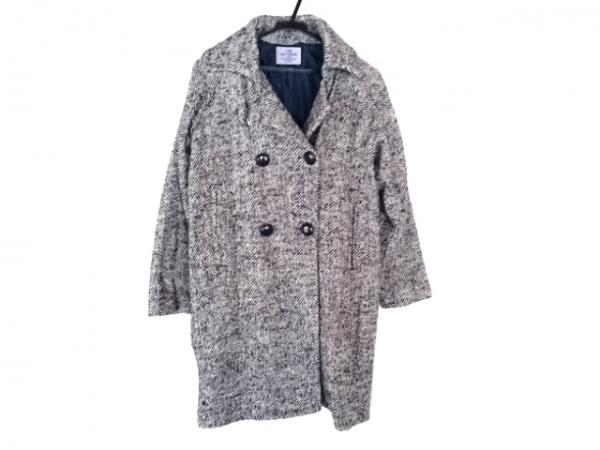 coen(コーエン) コート レディース 黒×アイボリー DAILY CLOTHING/冬物