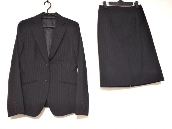 COMME CA ISM(コムサイズム) スカートスーツ サイズM レディース 黒 ストライプ