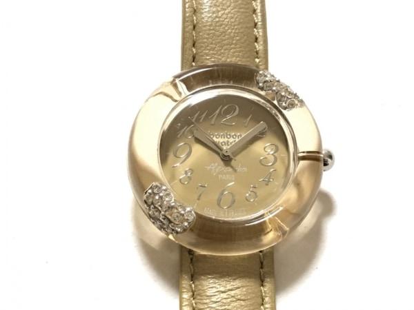 ボンボンウォッチ 腕時計美品  - レディース 革ベルト/裏スケ/Alexandra ベージュ