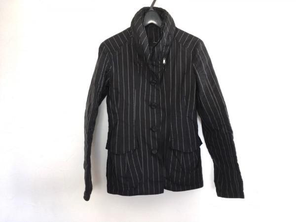 エルマノシェルビーノ ジャケット レディース美品  黒×ライトグレー ストライプ