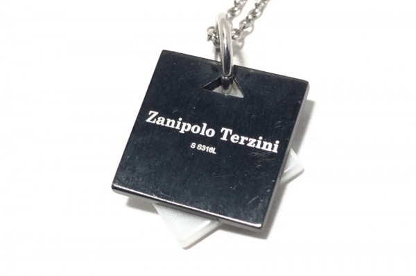 ザニポロ タルツィーニ ネックレス 金属素材×カラーストーン シルバー×黒×白