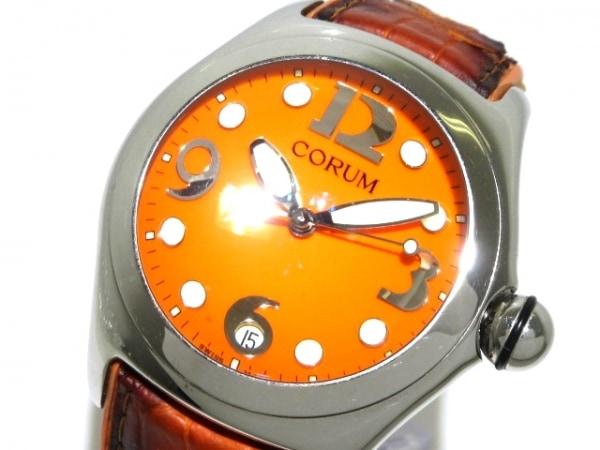 CORUM(コルム) 腕時計 バブル 163.150.20 メンズ ラバー×革ベルト オレンジ
