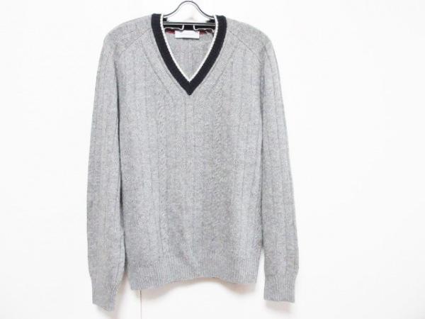 ErmenegildoZegna(ゼニア) 長袖セーター サイズ48 XL メンズ グレー×ネイビー×白