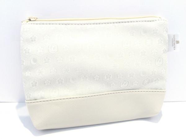 龍村美術織物(タツムラ) ポーチ美品  ライトグレー 化学繊維×合皮
