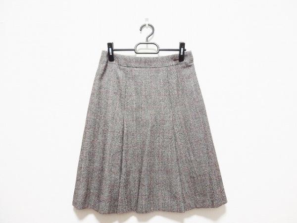 DAKS(ダックス) スカート サイズ40 L レディース アイボリー×ダークブラウン×レッド