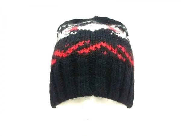ポロラルフローレン ニット帽美品  黒×白×レッド ウール×アクリル×アルパカ