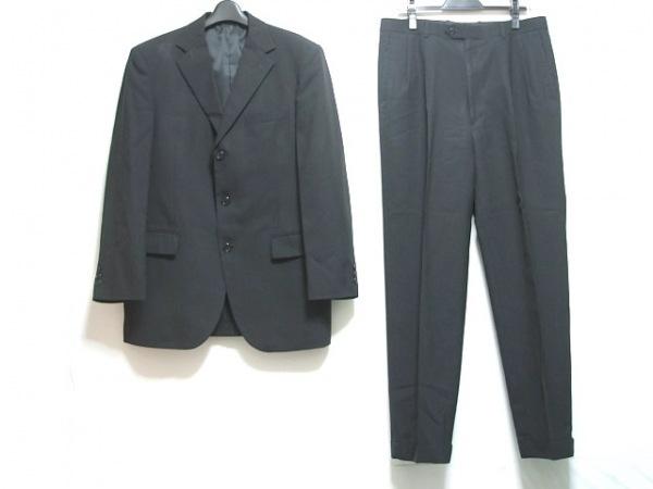 ゴタイリク シングルスーツ サイズ5L メンズ 黒×グレー ストライプ/ネーム刺繍