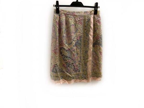 スキャパ 巻きスカート サイズ40 XL レディース美品  ライトグレー×ピンク×マルチ