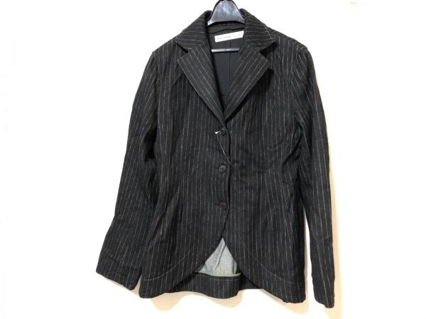 KEIKO KISHI(ケイコキシ) ジャケット サイズ2 M レディース 黒×ブラウン ストライプ