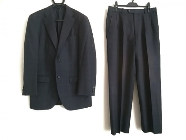 セルッティ1881 シングルスーツ メンズ 黒×グレー 肩パッド/チェック柄/ネーム刺繍