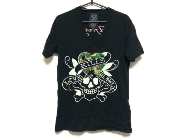 Ed Hardy(エドハーディー) 半袖Tシャツ サイズM メンズ 黒×ベージュ×マルチ
