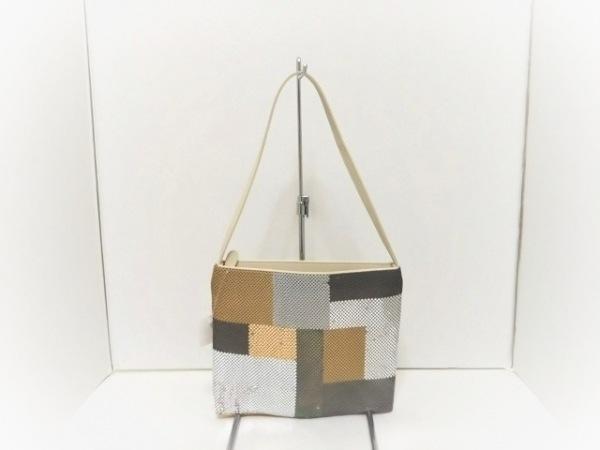 ブラッチャリーニ ハンドバッグ アイボリー×ゴールド×シルバー 金属素材×レザー