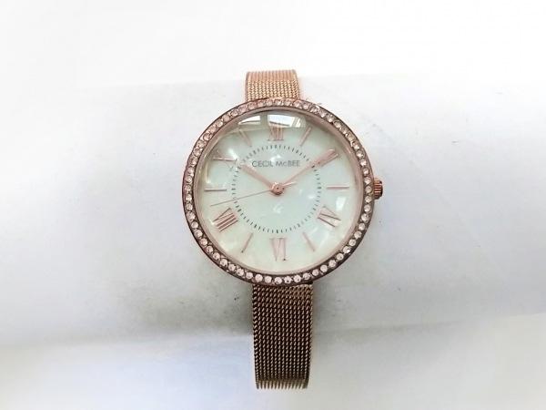 セシルマクビー 腕時計美品  CM045 レディース シェル文字盤/ラインストーンベゼル