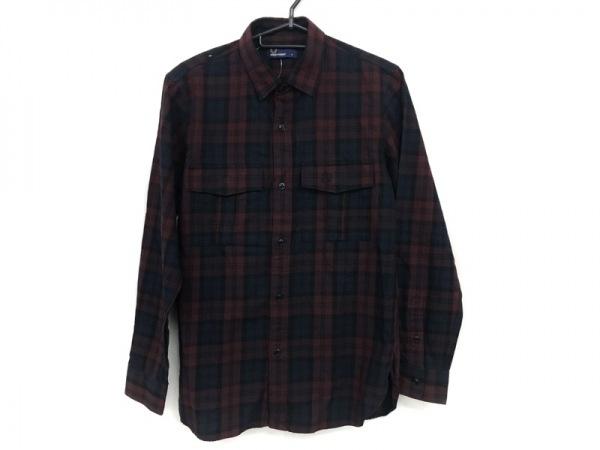 フレッドペリー 長袖シャツ サイズs S メンズ美品  ボルドー×ダークネイビー×黒
