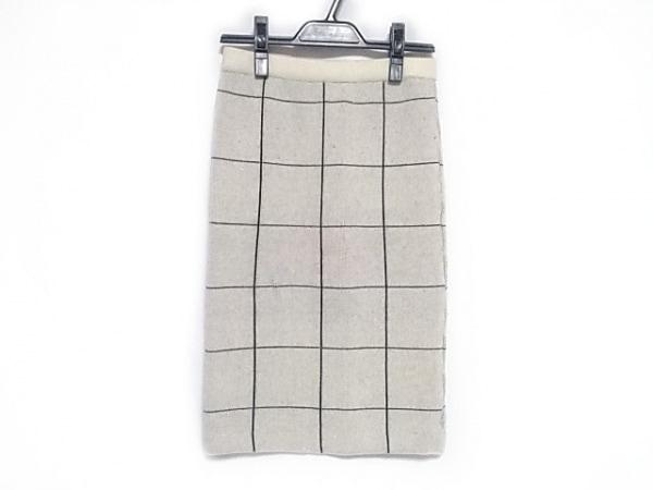 レベッカミンコフ スカート サイズM レディース 白×黒 ニット/チェック柄
