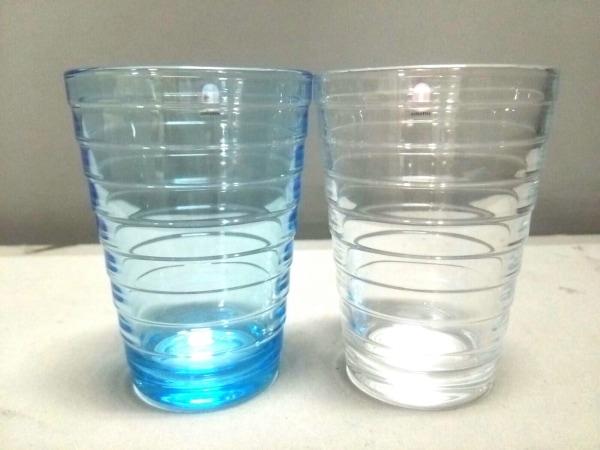 iittala(イッタラ) ペアグラス新品同様  クリア×ブルー ガラス